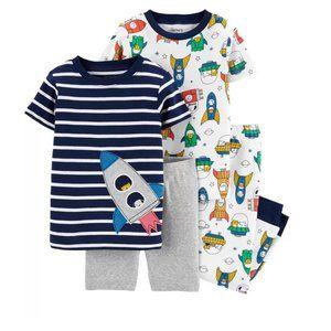 Baby 4pc Pajamas Cats Dogs ROCKET Space 12Mo NWT